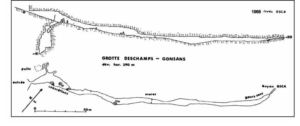La topo de 1968 par le Groupe Spéléo d'Alsace